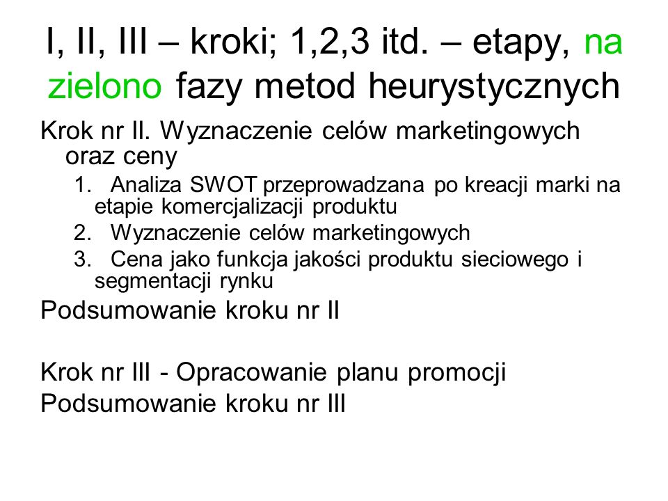I, II, III – kroki; 1,2,3 itd. – etapy, na zielono fazy metod heurystycznych