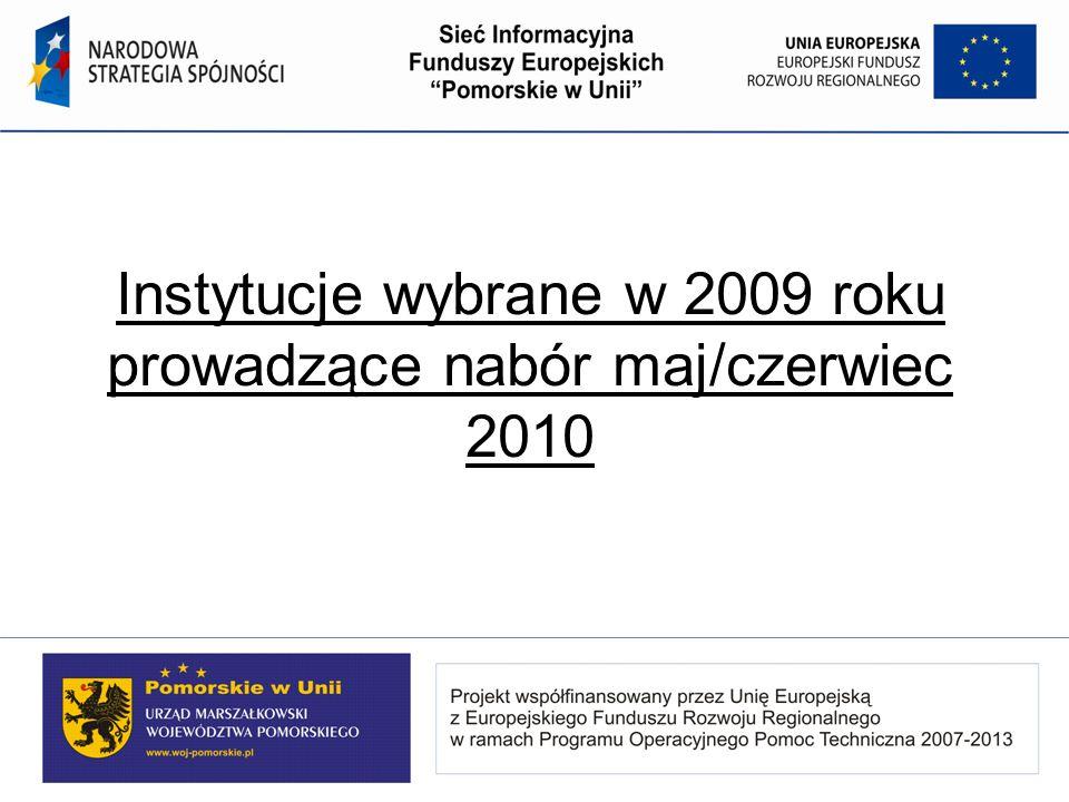 Instytucje wybrane w 2009 roku prowadzące nabór maj/czerwiec 2010
