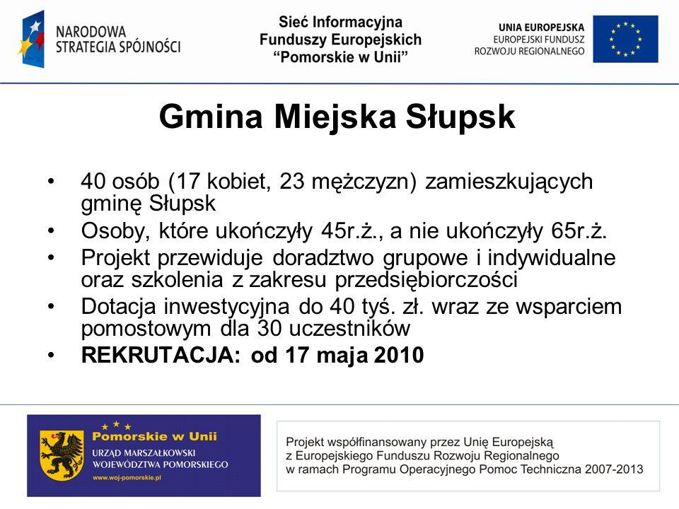 Gmina Miejska Słupsk 40 osób (17 kobiet, 23 mężczyzn) zamieszkujących gminę Słupsk. Osoby, które ukończyły 45r.ż., a nie ukończyły 65r.ż.