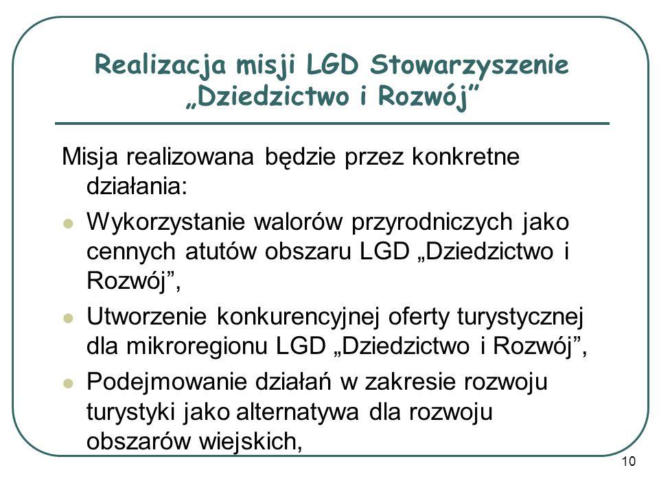 """Realizacja misji LGD Stowarzyszenie """"Dziedzictwo i Rozwój"""