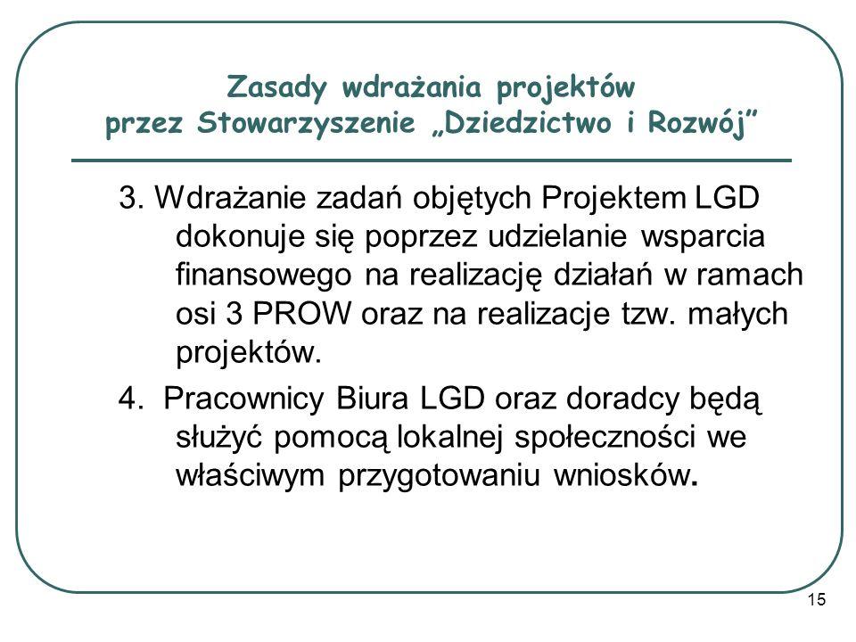 """Zasady wdrażania projektów przez Stowarzyszenie """"Dziedzictwo i Rozwój"""