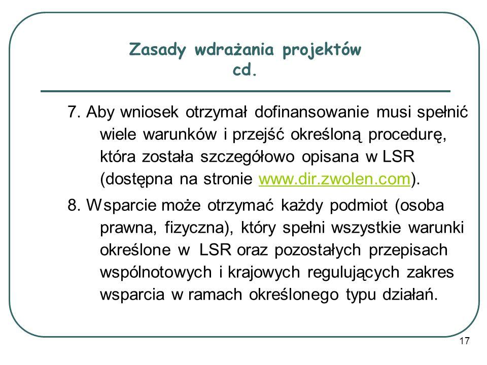 Zasady wdrażania projektów cd.