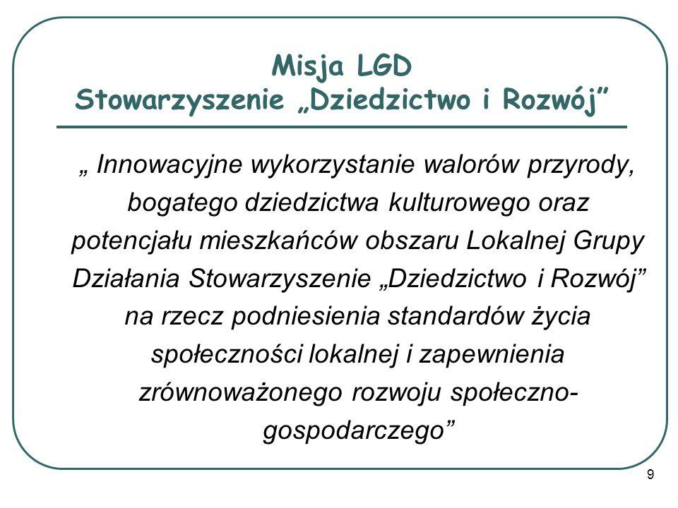 """Misja LGD Stowarzyszenie """"Dziedzictwo i Rozwój"""