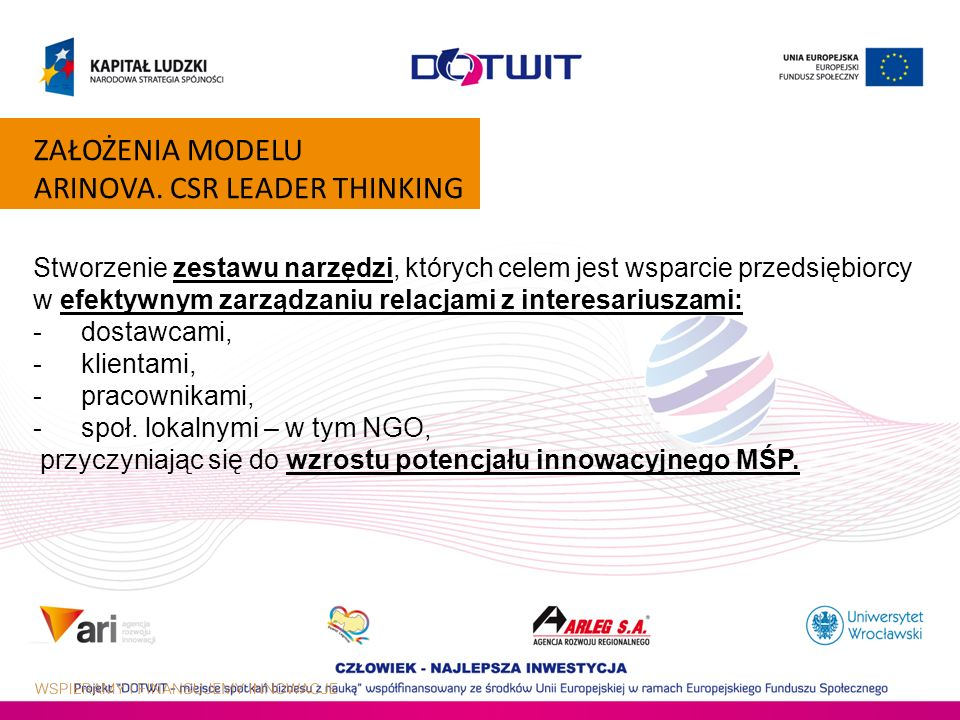 ZAŁOŻENIA MODELU ARINOVA. CSR LEADER THINKING