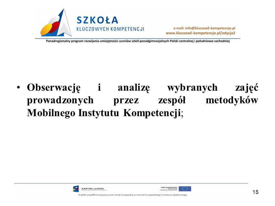 Obserwację i analizę wybranych zajęć prowadzonych przez zespół metodyków Mobilnego Instytutu Kompetencji;