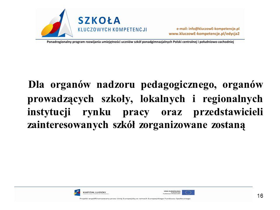 Dla organów nadzoru pedagogicznego, organów prowadzących szkoły, lokalnych i regionalnych instytucji rynku pracy oraz przedstawicieli zainteresowanych szkół zorganizowane zostaną