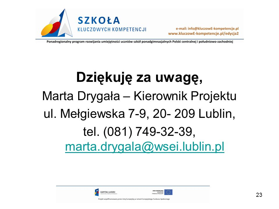 Dziękuję za uwagę, Marta Drygała – Kierownik Projektu