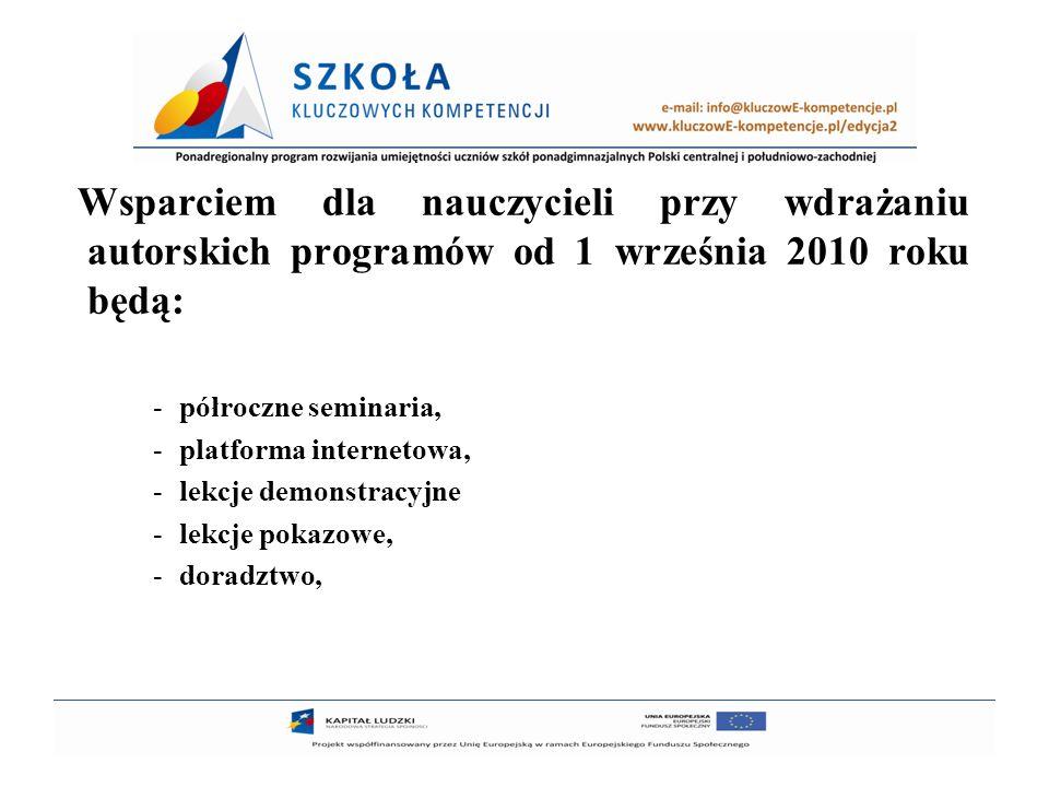 Wsparciem dla nauczycieli przy wdrażaniu autorskich programów od 1 września 2010 roku będą: