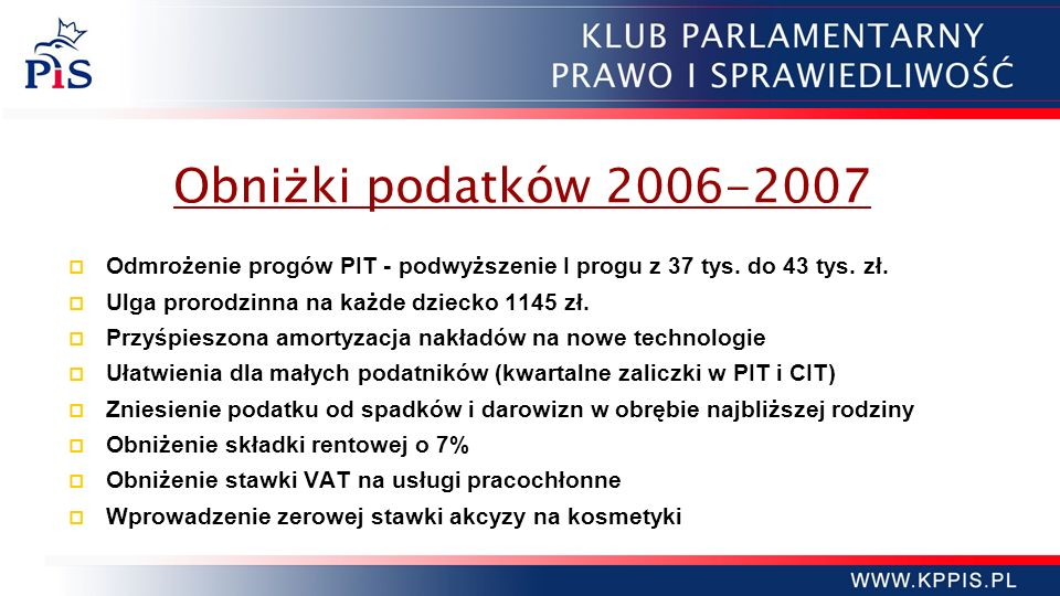 Obniżki podatków 2006-2007 Odmrożenie progów PIT - podwyższenie I progu z 37 tys. do 43 tys. zł. Ulga prorodzinna na każde dziecko 1145 zł.
