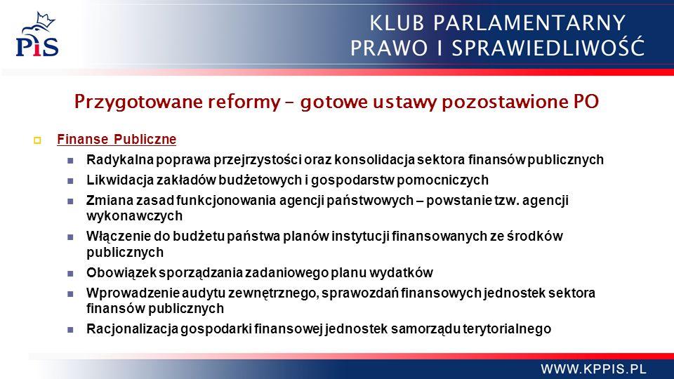 Przygotowane reformy – gotowe ustawy pozostawione PO