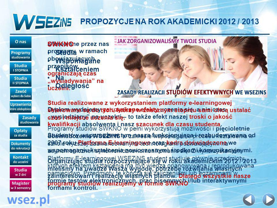 wsez.pl PROPOZYCJE NA ROK AKADEMICKI 2012 / 2013 SWKNO SWKNO Studia