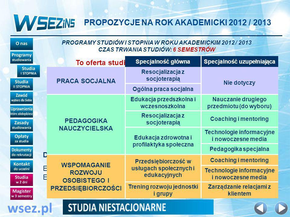 wsez.pl 6 dni w semestrze Dwa zjazdy w semestrze: