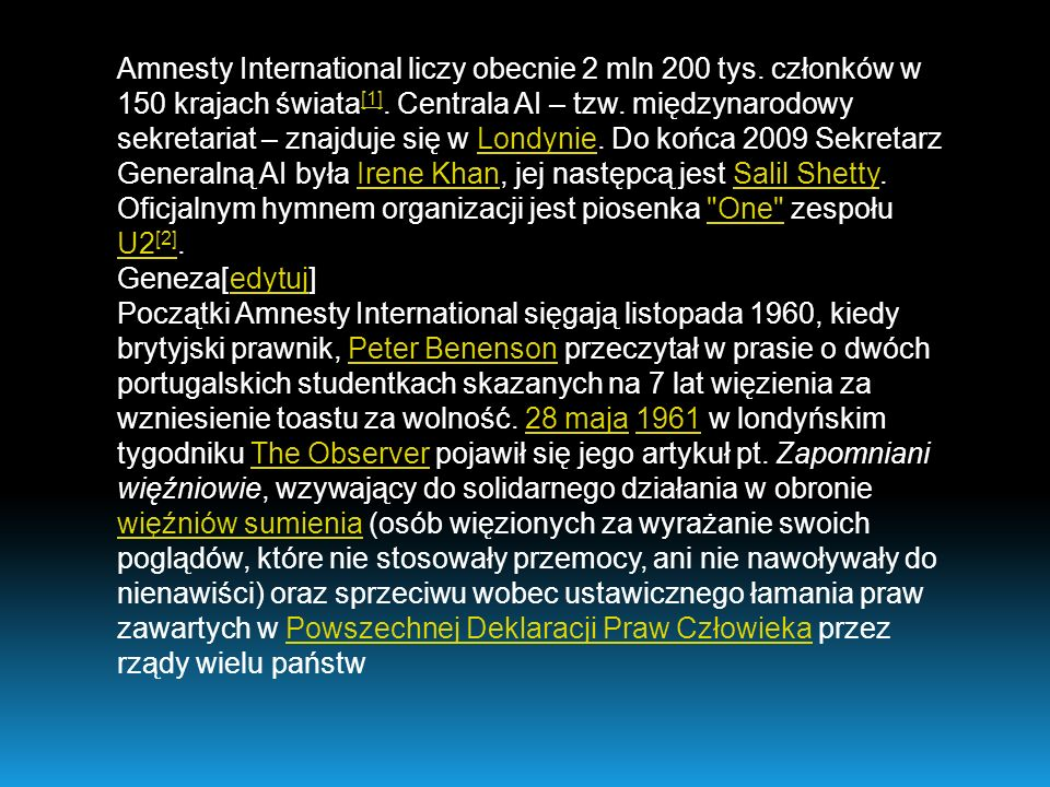 Amnesty International liczy obecnie 2 mln 200 tys