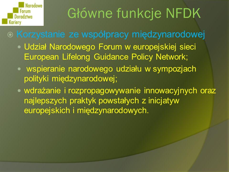 Główne funkcje NFDK Korzystanie ze współpracy międzynarodowej
