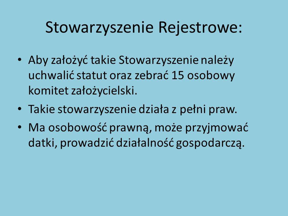 Stowarzyszenie Rejestrowe: