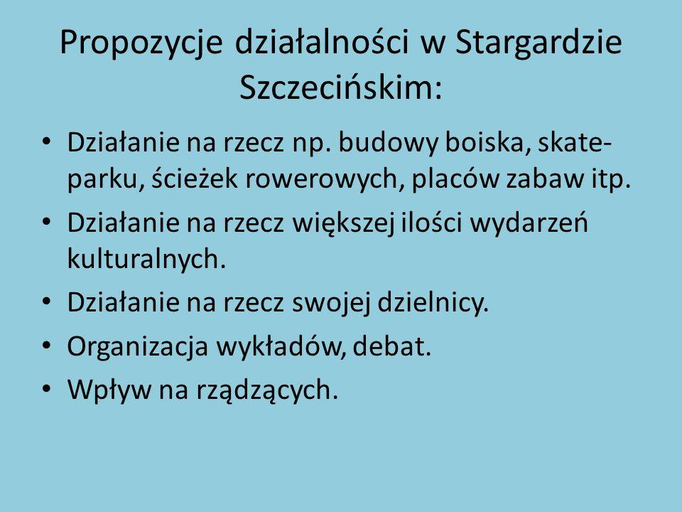 Propozycje działalności w Stargardzie Szczecińskim: