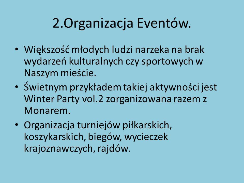 2.Organizacja Eventów. Większość młodych ludzi narzeka na brak wydarzeń kulturalnych czy sportowych w Naszym mieście.