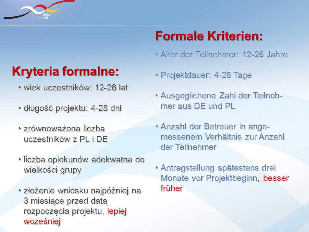 Formale Kriterien: Kryteria formalne: