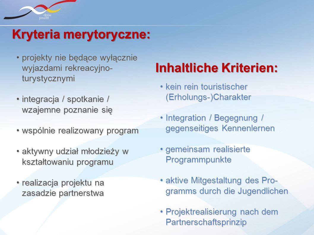 Kryteria merytoryczne: