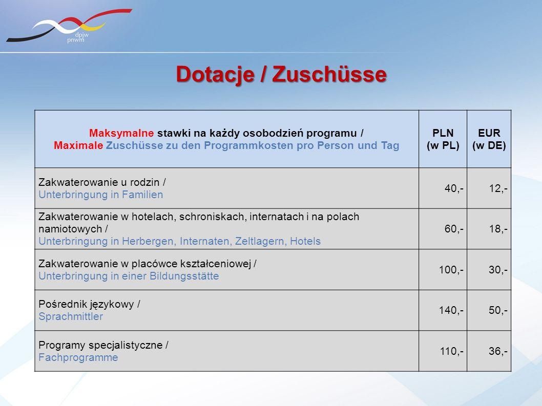 Dotacje / Zuschüsse Maksymalne stawki na każdy osobodzień programu /