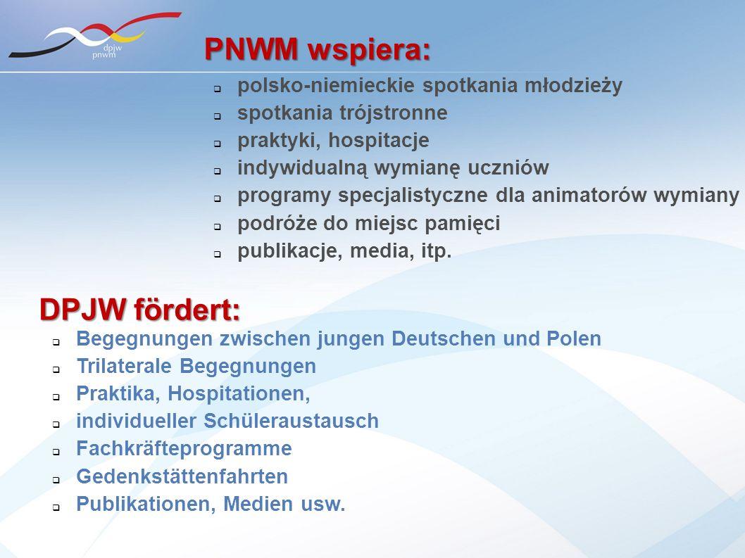 PNWM wspiera: DPJW fördert: polsko-niemieckie spotkania młodzieży