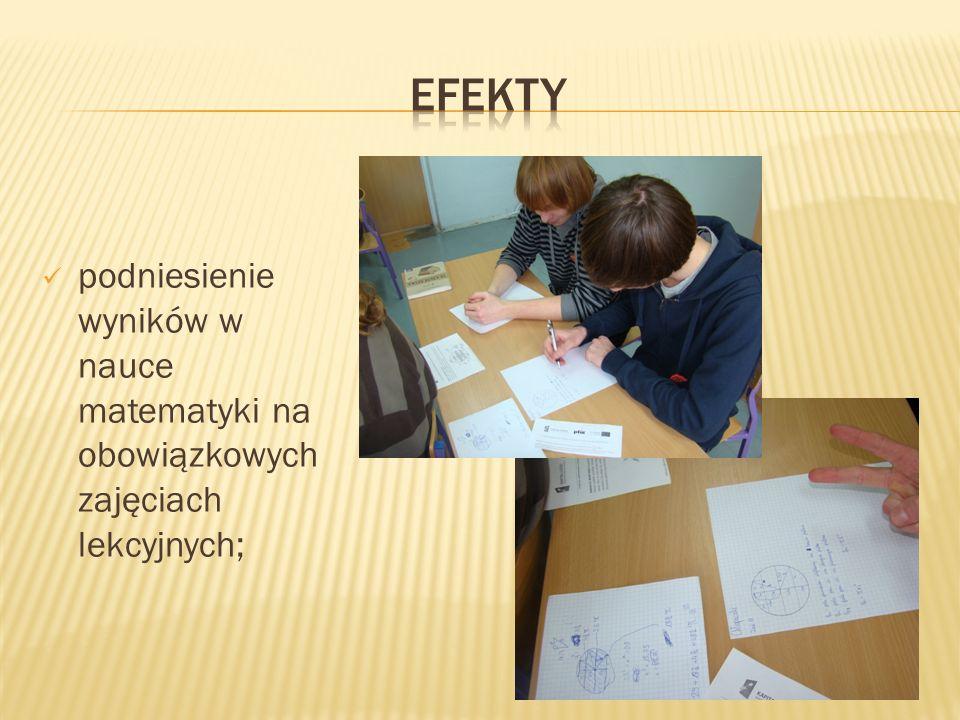 efekty podniesienie wyników w nauce matematyki na obowiązkowych zajęciach lekcyjnych;