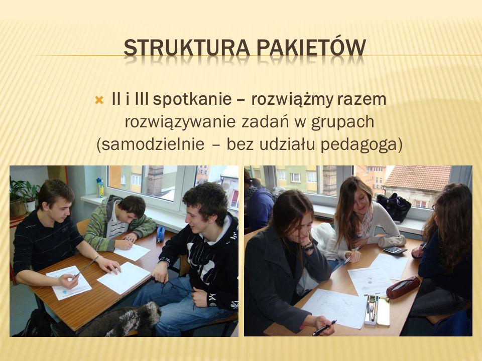 Struktura pakietów II i III spotkanie – rozwiążmy razem rozwiązywanie zadań w grupach (samodzielnie – bez udziału pedagoga)