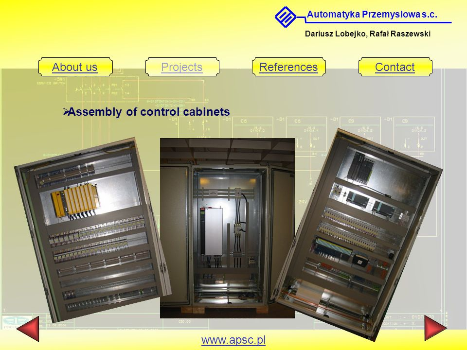 Assembly of control cabinets