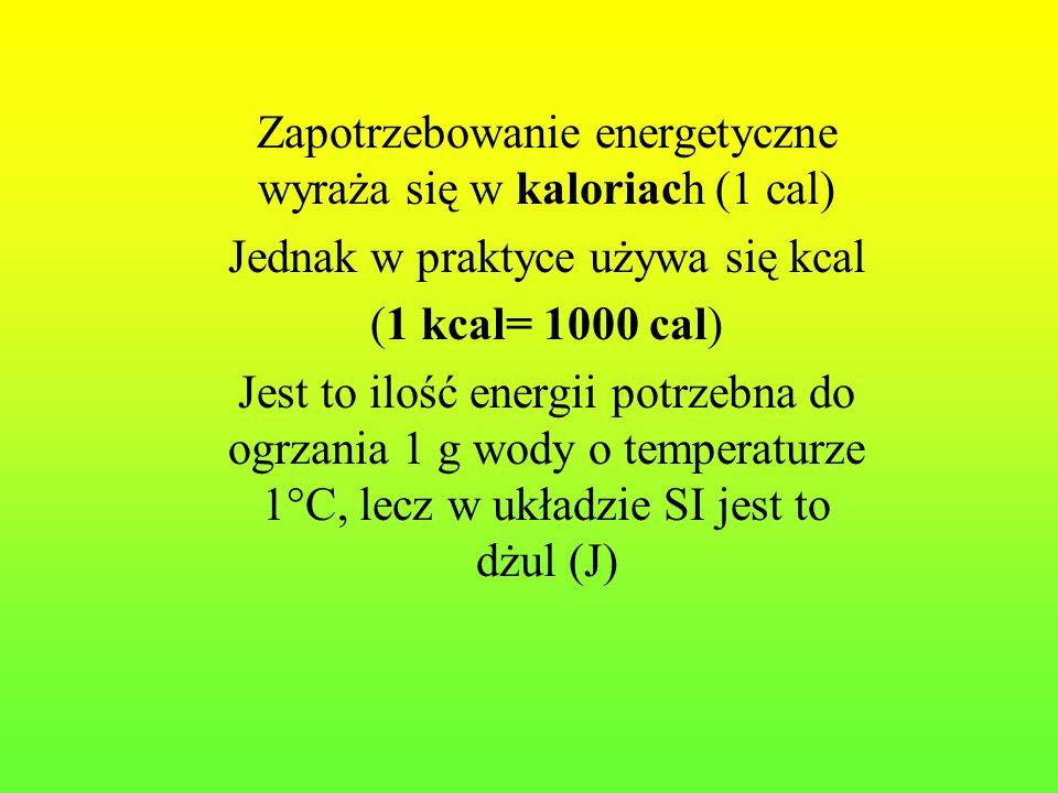 Zapotrzebowanie energetyczne wyraża się w kaloriach (1 cal)