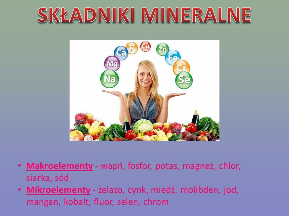 Makroelementy - wapń, fosfor, potas, magnez, chlor,