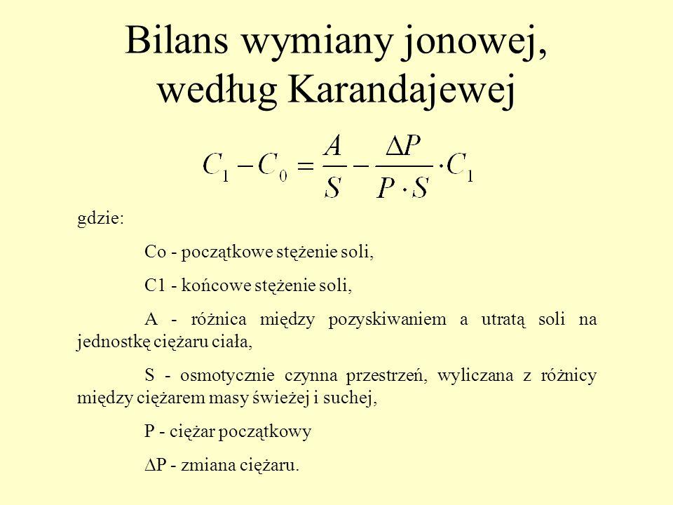 Bilans wymiany jonowej, według Karandajewej