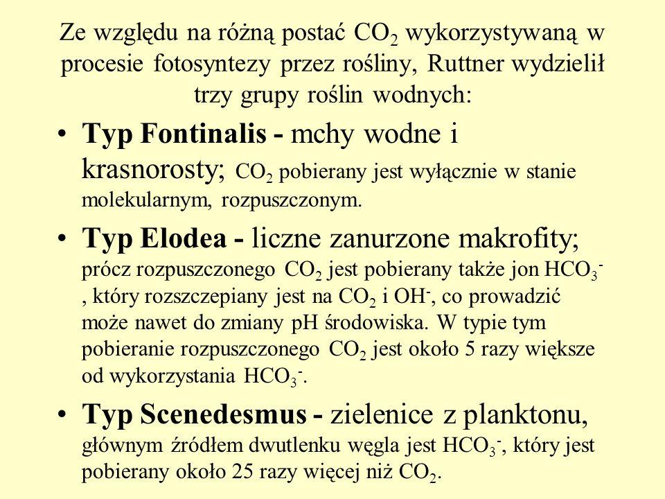 Ze względu na różną postać CO2 wykorzystywaną w procesie fotosyntezy przez rośliny, Ruttner wydzielił trzy grupy roślin wodnych: