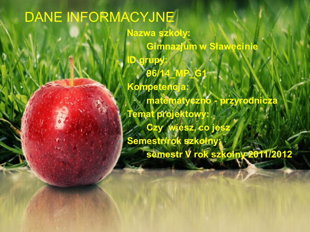 DANE INFORMACYJNE Gimnazjum w Sławęcinie ID grupy: 96/14_MP_G1