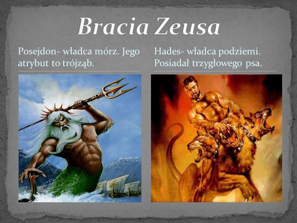 Bracia Zeusa Posejdon- władca mórz. Jego atrybut to trójząb.