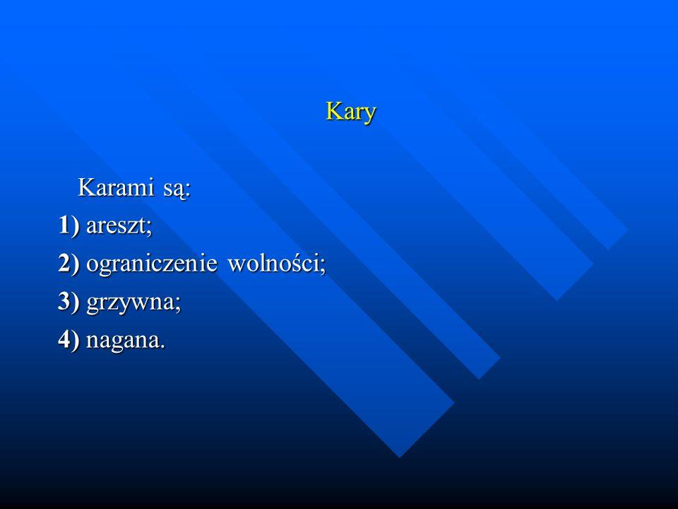 Kary Karami są: 1) areszt; 2) ograniczenie wolności; 3) grzywna; 4) nagana.