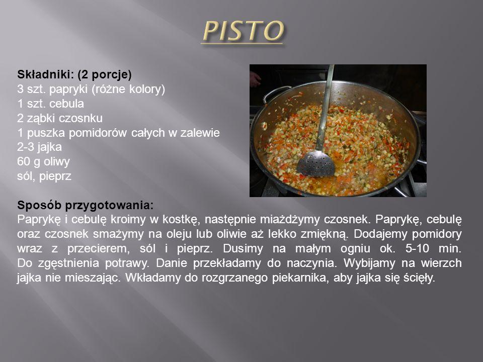 PISTO Składniki: (2 porcje) 3 szt. papryki (różne kolory)