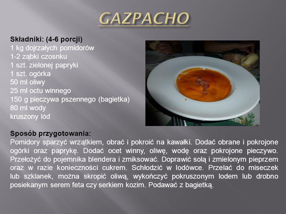 GAZPACHO Składniki: (4-6 porcji) 1 kg dojrzałych pomidorów