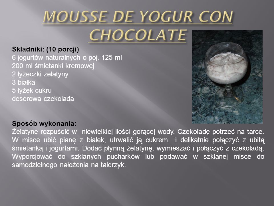 MOUSSE DE YOGUR CON CHOCOLATE