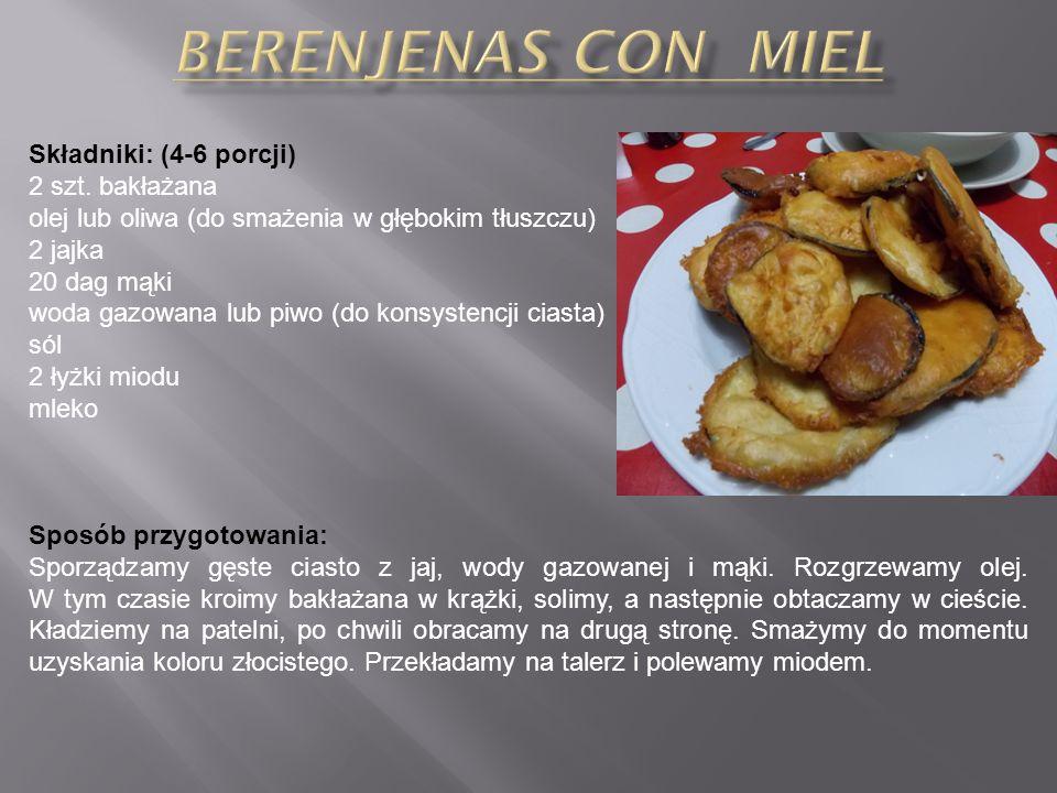 Berenjenas con miel Składniki: (4-6 porcji) 2 szt. bakłażana