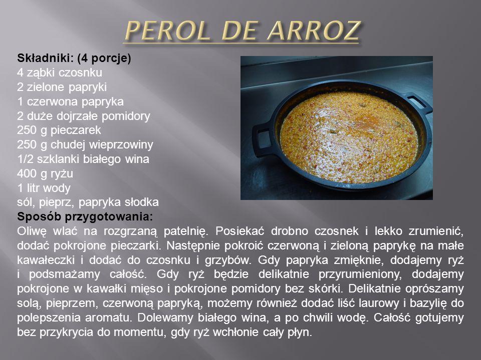 PEROL DE ARROZ Składniki: (4 porcje) 4 ząbki czosnku 2 zielone papryki