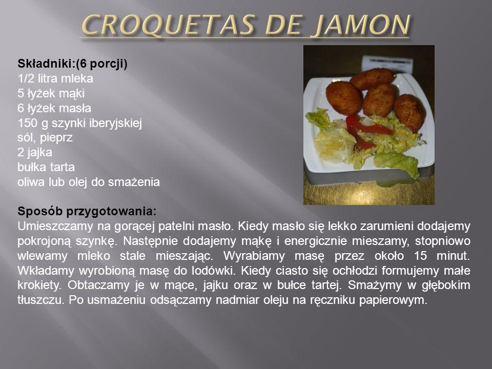 CROQUETAS DE JAMON Składniki:(6 porcji) 1/2 litra mleka 5 łyżek mąki