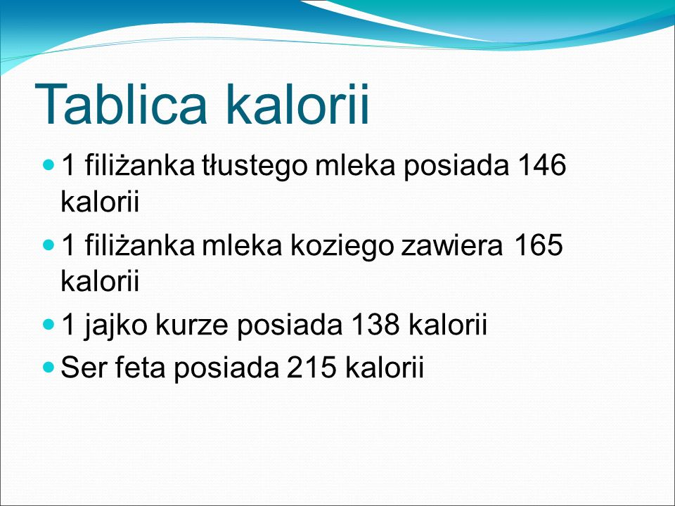 Tablica kalorii 1 filiżanka tłustego mleka posiada 146 kalorii