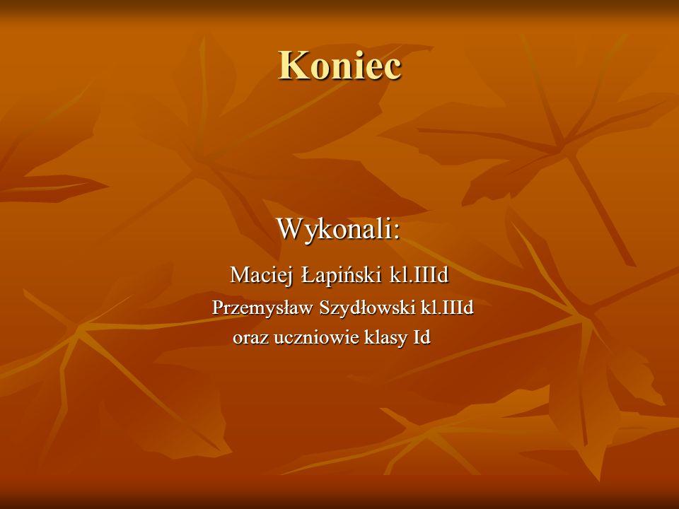Koniec Wykonali: Maciej Łapiński kl.IIId Przemysław Szydłowski kl.IIId