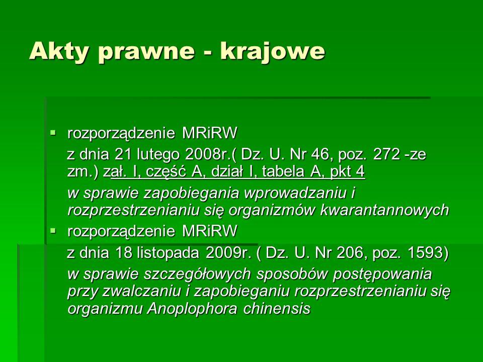 Akty prawne - krajowe rozporządzenie MRiRW