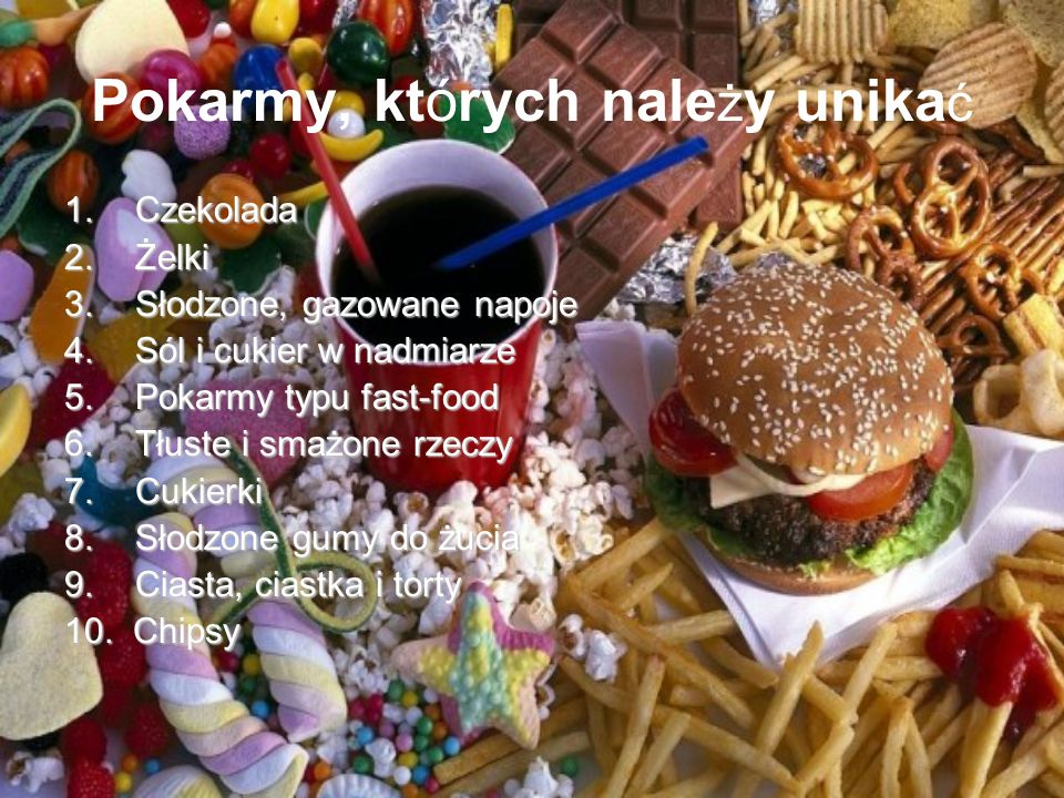 Pokarmy, których należy unikać