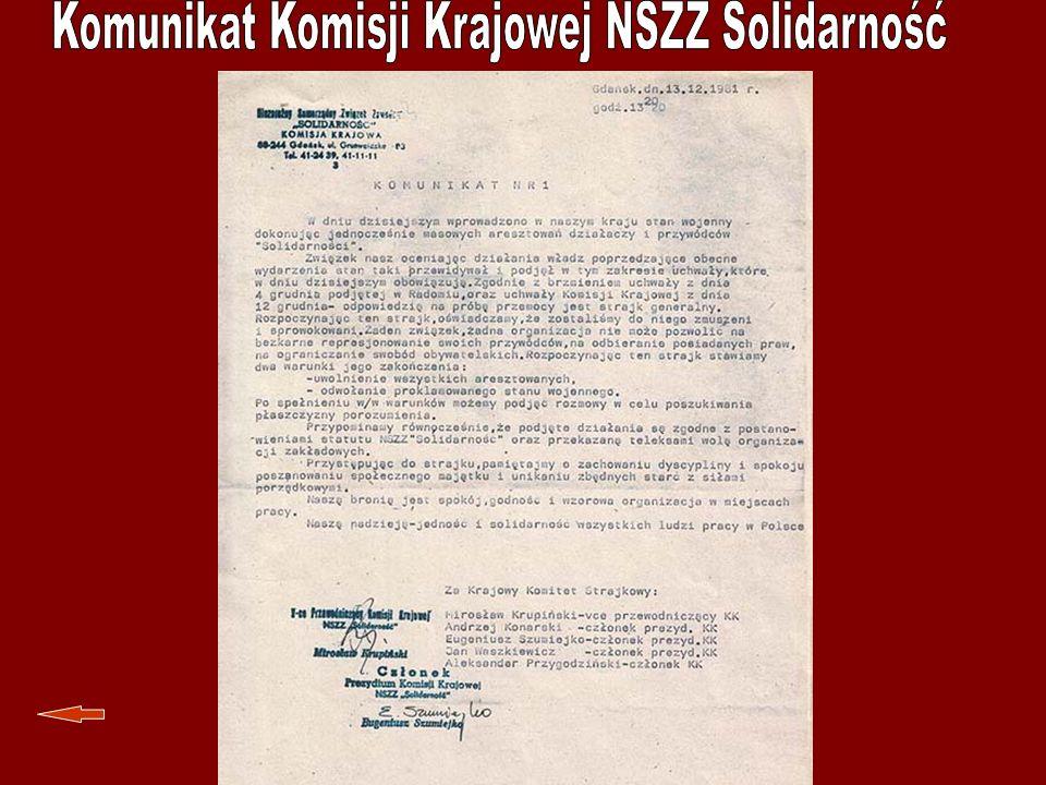 Komunikat Komisji Krajowej NSZZ Solidarność