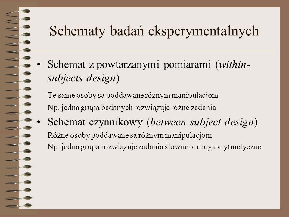 Schematy badań eksperymentalnych