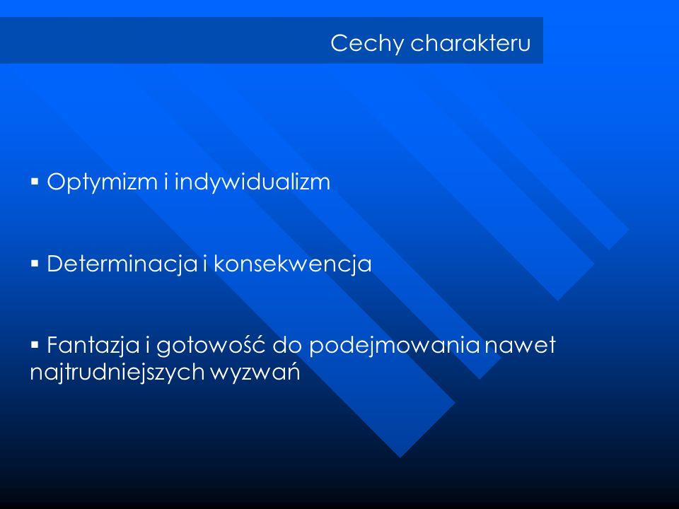 Cechy charakteruOptymizm i indywidualizm.Determinacja i konsekwencja.