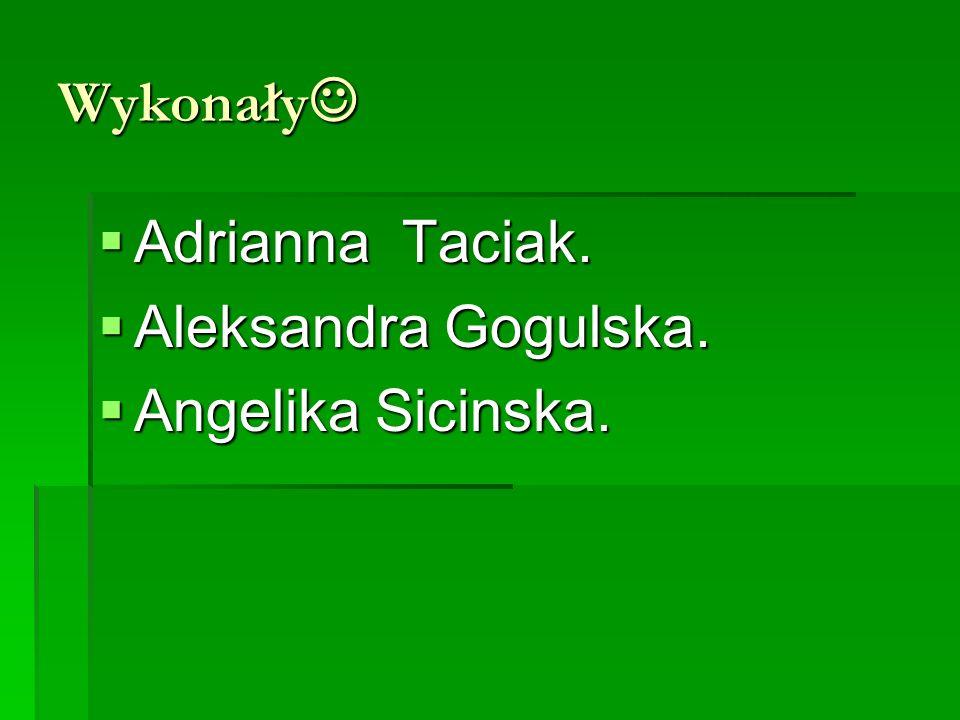 Wykonały Adrianna Taciak. Aleksandra Gogulska. Angelika Sicinska.