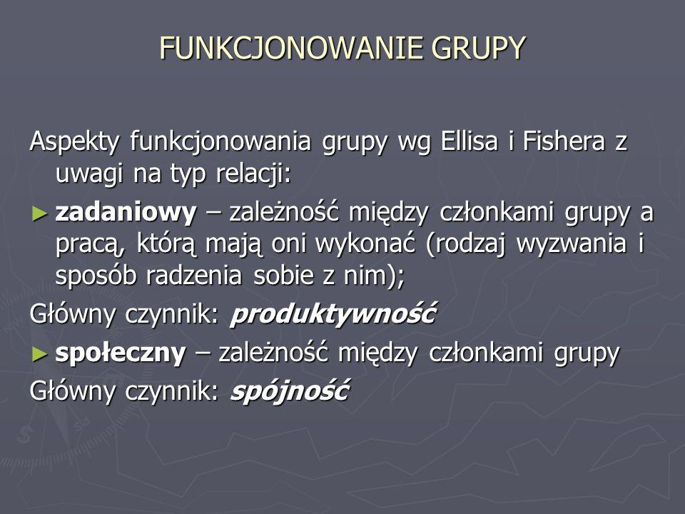 FUNKCJONOWANIE GRUPY Aspekty funkcjonowania grupy wg Ellisa i Fishera z uwagi na typ relacji: